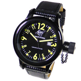 "Automatic diver watch ""FROGMAN"" by POLJOT SPUTNIK, stainless steel, black PVD coated, ø45mm"