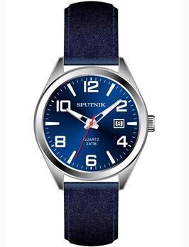 Armbanduhr SPUTNIK, Quarz, verchromt, poliert, sehr dünn, ø42mm