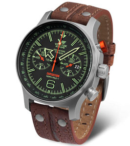 Chronograph EXPEDITION NORTH POLE 1 von VOSTOK EUROPE, Quarz, 200m wasserdicht, Titan, ø47mm,