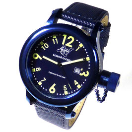 "Automatic diver watch ""FROGMAN"" by POLJOT SPUTNIK, stainless steel, blue PVD coated, ø45mm"