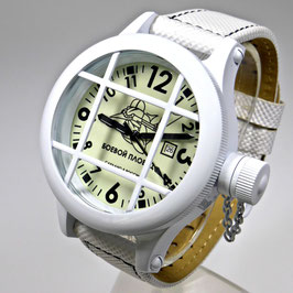 "Automatic diver watch ""FROGMAN"" by POLJOT SPUTNIK, stainless steel, painted white, ø50mm"