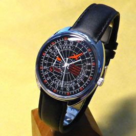 "Polar watch ""North Pole - 1"" 24hr watch by RAKETA, hand-wound, schwarz, white hands,  ø39mm"
