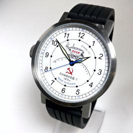 """Automatic wrist watch """"NEW SPUTNIK 1957"""", model """"LUNAKHOD-1""""by POLJOT SPUTNIK, stainless steel, brushed, ø50mm"""