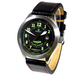 "Automatic pilot watch ""RUSSKI AVIATOR KOSHEDUB"" by POLJOT, stainless steel, brushed, ø44mm"