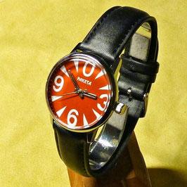 """Wristwatch """"With ZERO""""byRAKETA red, hand-wound,chromeplated,polished, ø34mm"""
