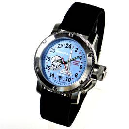"24hr watch ""YURI GAGARIN""by TRIUMPH with RAKETA movement, stainless steel, fein brushed, 100m waterproofed, ø47mm"