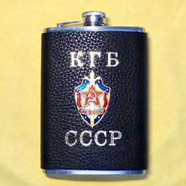 "Hip flask ""KGB CCCP"", stainless steel covered with leather, ca.250ml"