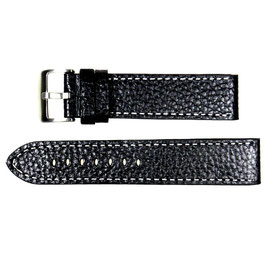 POLJOT 22mm leather strap, black, fine white stitching, brushed buckle
