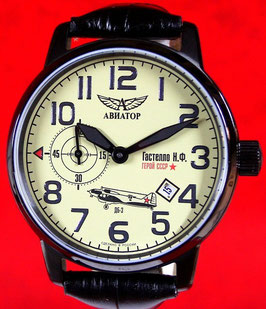 AVIATOR GASTELLO Armbanduhr Handaufzug, VOLMAX, Edelstahl, PVD beschichtet, ø45mm