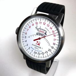 "Automatic 24hr one hand wrist watch ""NEW SPUTNIK 1957"", model ""LUNAKHOD-1""by POLJOT SPUTNIK, stainless steel, brushed, ø50mm"