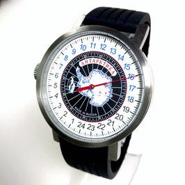 "Automatic one hand wrist 24hr watch ""NEW SPUTNIK 1957"", model ""ANTARCTICA""by POLJOT SPUTNIK, stainless steel, brushed, ø50mm"