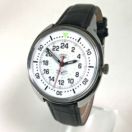 "Russian 24hr pilots watch ""PILOT"" by TRIUMPH with VOSTOK movement, chrome plated, polished, ø39mm"
