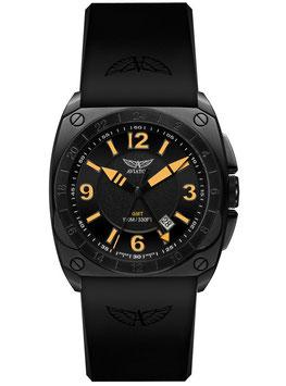 """Fliegeruhr Aviator """"MIG-29 GMT"""" Volmax, Saphire-Glas, Swiss Made, zusätzliche 24-STD.-Zeitanzeige, Edelstahl, schwarz PVD beschichtet, ø45mm"""