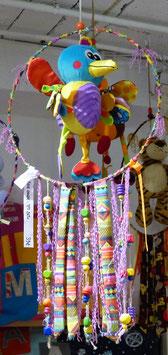 Attrape-rêve doudou oiseau multicolore