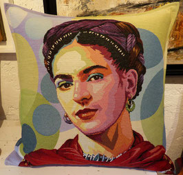 Coussin Frida Kahlo (fond rond)