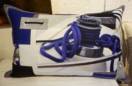 Coussin Winch bleu cobalt