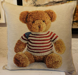 Coussin nounours vintage pull rayé