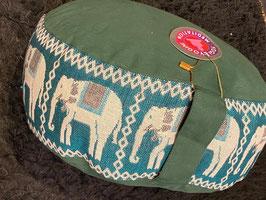 Meditatiekussen groen met olifantjes