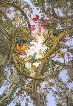 Kunstdruck - Gelbbrust Ara im Traumwald