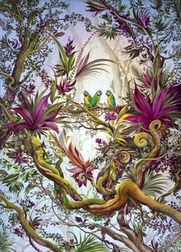 Kunstdruck - Drei Gelbe Macaws im Roten Traumregenwald