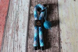 Schlüsselanhänger Schutzengel Schwarz/Blau/Türkis