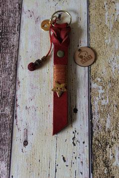 Schlüsselanhänger Fettleder Rot