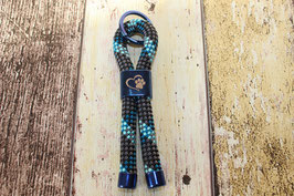 Schlüsselanhänger Pfote Blau/Schwarz/Türkis
