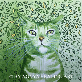 MEDITATION CAT green vision | Handveredelter KunstDruck | inkl. CD Meditation Cat | Rahmen nach Wunsch.