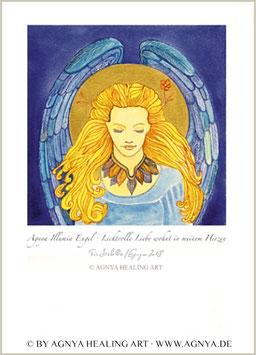 """ILLUMIA ENGEL"" von Agnya   KUNSTDRUCK, golden handkoloriert, inkl. Rahmen."