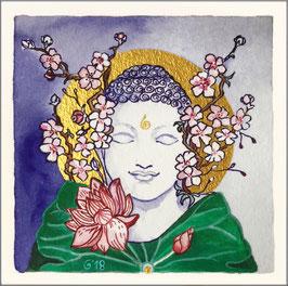 """BLÜHENDER BUDDHA"" No. I | © AGNAYA | Handkolorierter Kunstdruck auf Büttenpapier | Bild 12 x 12 cm | inkl. Rahmen 25,5 x 25,5 cm"