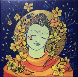 BUDDHA | SCHMUCKBILD  by Agnya  | LeinwandKunstdruck mit über 100 Schmuck-Elementen gestaltet | UNIKAT