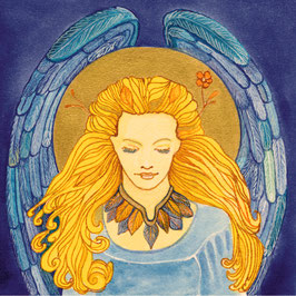 """ILLUMIA ENGEL"" von Agnya | KUNSTDRUCK, golden handkoloriert, inkl. Rahmen."