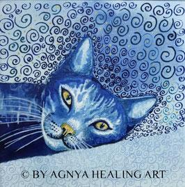 MEDITATION CAT blue vision | Handveredelter KunstDruck | inkl. CD Meditation Cat | Rahmen nach Wunsch.