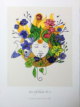 FACE OF SHANTI  © Agnya | KunstDruck, Gold handkoloriert auf echtem Büttenpapier, inkl. Rahmen
