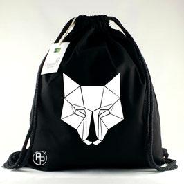 Turnbeutel / Gymbag geometrischer Wolf weiße Augen