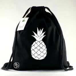 Turnbeutel / Gymbag geometrische Ananas weiß