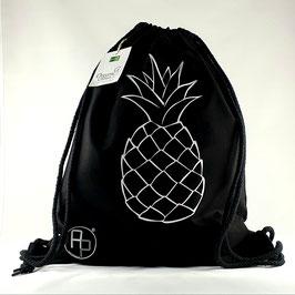 Turnbeutel / Gymbag geometrische Ananas schwarz