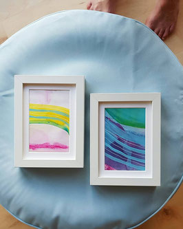 Set of two mixed media paintings, framed