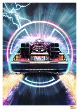 Zurück in die Zukunft DeLorean 42 x 30cm - ungerahmt Art Print Fanatik