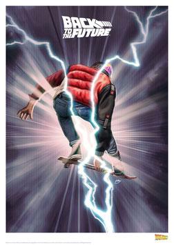 Zurück in die Zukunft Marty McFly Hovering  42 x 30cm - ungerahmt Art Print Fanatik