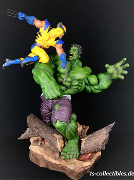 Hulk and Wolverine Exclusive Maquette Marvel X-Men Polystone Statue 59cm Sideshow