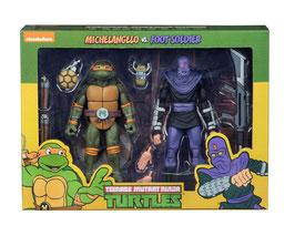Teenage Mutant Ninja Turtles Actionfiguren Doppelpack Michelangelo vs Foot Soldier 18cm Neca