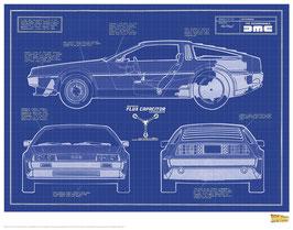 Zurück in die Zukunft Delorean Blue Print 35 x 28cm - ungerahmt Art Print Fanatik