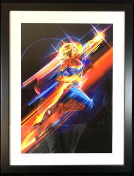 Higher, Further, Faster Fine Art Print Captain Marvel Kunstdruck by Orlando Arocena 61 x 46cm gerahmt Sideshow