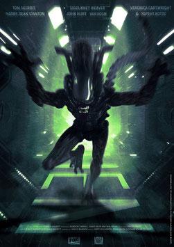 Alien Big Chap Attack 42 x 30cm - ungerahmt Art Print Fanatik