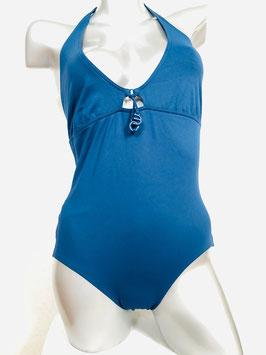 Mittelblauer Halterneck-Badeanzug von Eres / Größe 42