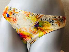 Gelb-bunter Bikini-Slip von Papueen / Größe 40