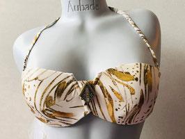 Gold gemustertes Bandeau-Bikinitop von RCrescentini