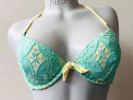 Gelb und Mintgrünes Spitzen-Bikinitop von Pin-up Stars / Größe 80 B