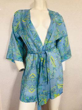 Floral gemusterter, himmelblauer Seiden-Kimono von Valery / Größe 34/36